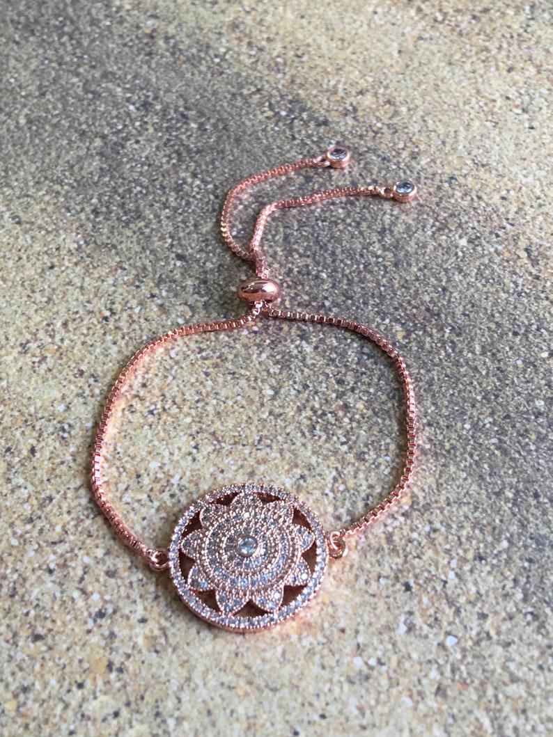 Copper Zircon Bracelet,Chain Copper,Rose Gold,Zircon For Woman,Elegant Bracelet,Luxury Jewelry,Circle Flower