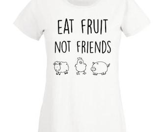 3c7583a4 Eat Fruit Not Friends T shirt, Animal friend T shirt, Woman Men Kids Vegan  animal lover T shirt Clothing Gift for Her dont eat animals shirt