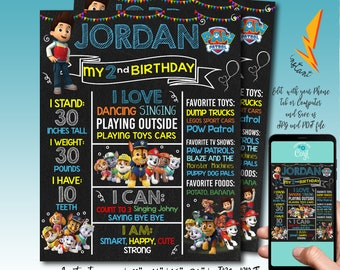 Editable Paw Patrol Birthday Chalkboard Sign First Party Board Printable Gift