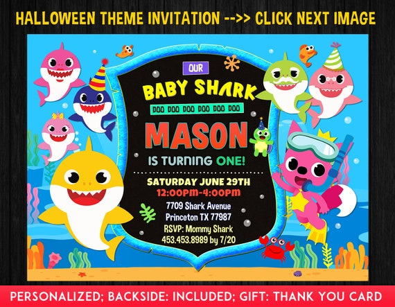 Baby Shark Invitation Boy Baby Shark Birthday Invitation Baby Shark 1st Birthday Boy Baby Shark 2nd Birthday Party Invite Free Ty Card