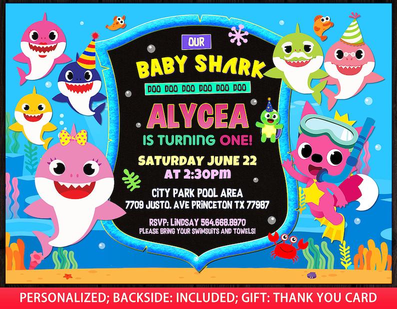 Baby Shark Invitation Girl Baby Shark Birthday Invitation Baby Shark 1st Birthday Girl Baby Shark 2nd Birthday Party Invite Free Ty Card