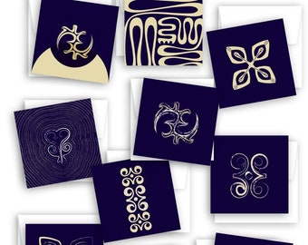 African Adinkra Symbol Greeting Cards (Set Of 10) - Assorted All Occasion Blank Cards - Modern Minimalist Designs