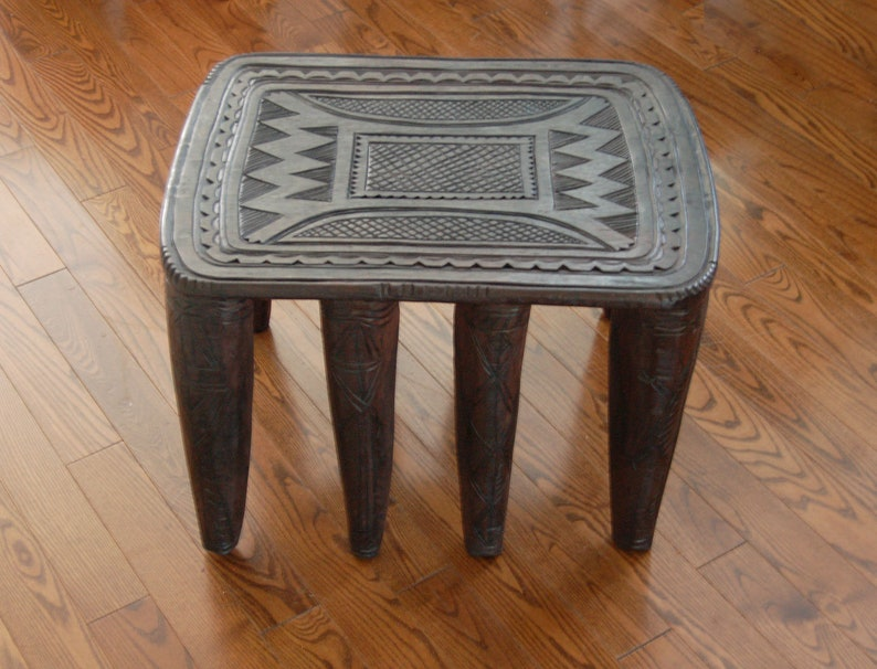 Hand-carved Pattern 8 legs Solid Wood Nupe Side Table Hand-carved African Coffee Table Handmade in Africa