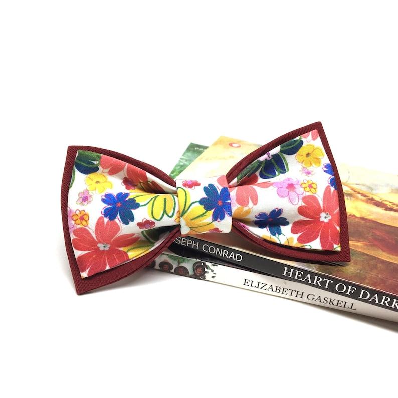 Floral bow tie Bow ties for men Burgundy bow tie Groom Bowtie Baby Boys Kids Bow tie for boys FL07 Wedding groomsmen bow tie