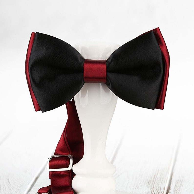 Baby Boys Kids Bow tie for boys Groom bow tie Groomsmen bow tie Black and Burgundy Men Bows Wedding bow tie Bow ties for men