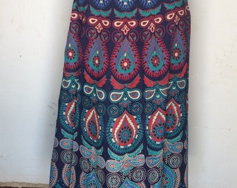 5794c249cc Floral Boho Print Skirt Bohemian Wrap Skirt Indian Gypsy Ethnic Skirt  Mandala Long Skirt Hippie Women Skirt Mandala Repron Rajasthani Skirt