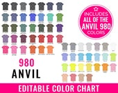 Anvil 980 Color Chart Mockup, Editable, Anvil Mockup, Every Color, T-shirt Color Chart, Shirt Color Chart, T-Shirt Color Guide