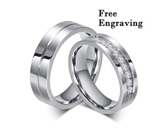 2fb1aeb539 Wedding rings type 316 stainless steel,Wedding ring set his and her, Promise  rings for couples,couple rings,couples gift boyfriend