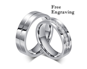 ef56798953 Wedding rings type 316 stainless steel,Wedding ring set his and her, Promise  rings for couples,couple rings,couples gift boyfriend