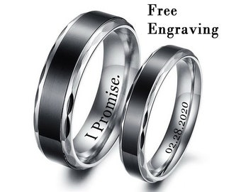stackable name rings Custom Coordinates Ring His and her promise rings Promise Ring For Couples engraved ring Couple Ring Set