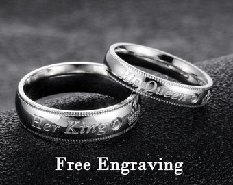 b2e11587f6 Promise rings for couples,couple rings,the king his queen matching rings set ,couples gift boyfriend