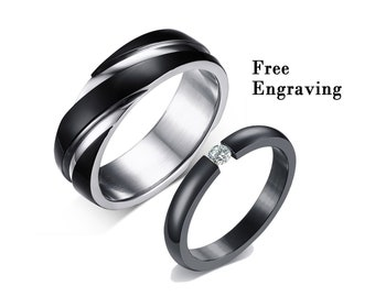 ea1caaac1a Promise rings for couples,couple rings,his and her promise rings,couples  gift boyfriend ,wedding rings type 316 stainless steel