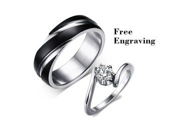 46d32d49d3 Promise rings for couples, Wedding ring set his and her,couple rings,couples  gift boyfriend,wedding rings type 316 stainless steel