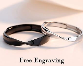 Black gold and white gold  plated sterling silver Mobius couples rings, Promise rings for couples