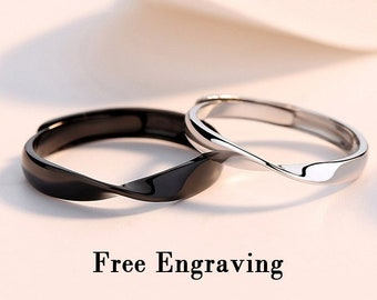 52ebcadf4a Promise rings for couples,couple rings,Wedding ring set his and her,  stirling silver rings for women,mobius ring,couples gift boyfriend