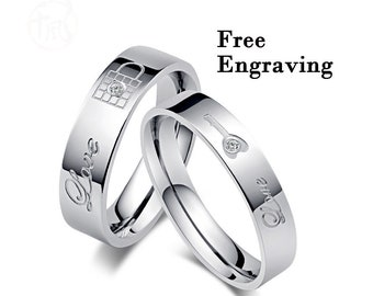 8a1d93c749 Promise rings for couples, couple rings, Wedding rings type 316 stainless  steel,couples gift boyfriend,Key and Lock matching rings