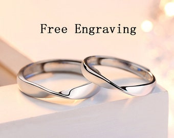 c91992651c Promise rings for couples,couple rings,engagement ring, thin ring with  twist,couples gift boyfriend,mobius ring,wedding ring set his and her