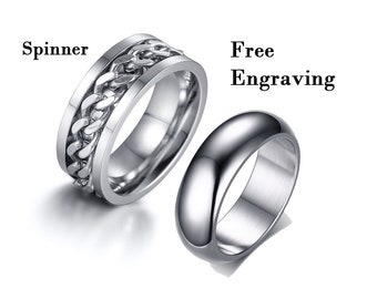 2b289b9b5a Spinner rings, Promise rings for couples,couple rings,couples gift  boyfriend,couple ring set