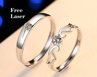 45e0741d6 Angel's Wing couples ring set,Promise rings for couples,couple rings,Wedding  ring set his and her, sterling silver rings for women