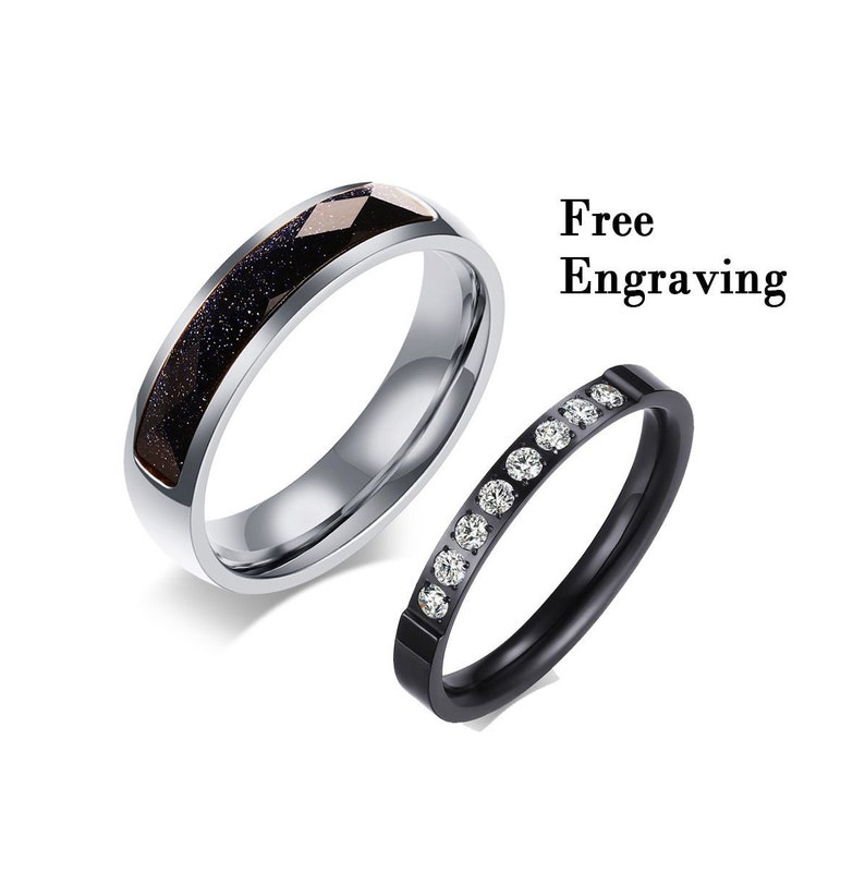 Promise rings for couples,Wedding ring set his and her,couple rings,wedding rings type 316 stainless steel,couples gift boyfriend