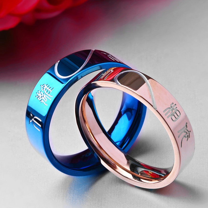 Promise rings for couples,Wedding ring sets his and her couple rings,wedding rings type 316 stainless steel