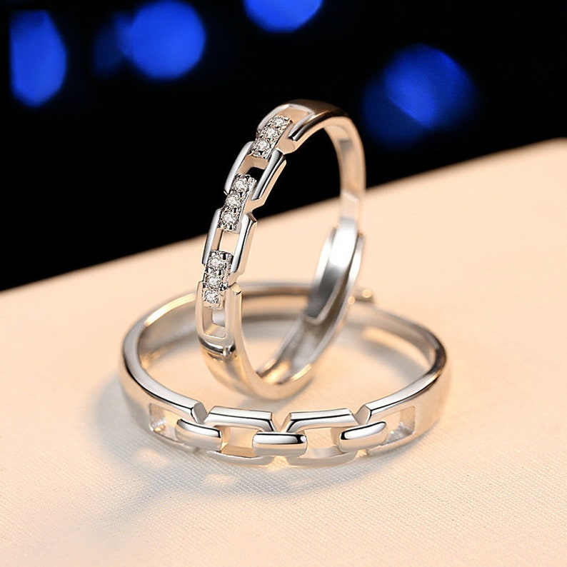 Promise rings for couples Wedding ring set his and her,Couples ring set,couples gift boyfriend,sterling silver cz ring couple rings