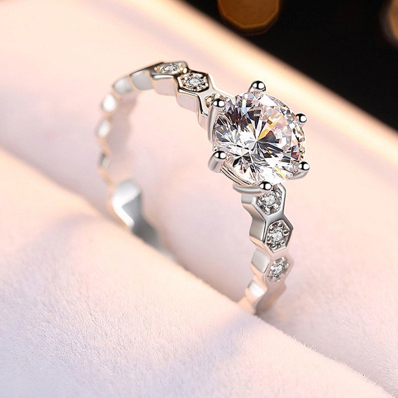 Imitation diamond CZ Sterling silver rings for women,Honeycomb ring,woman engagement ring,wedding ring for her,princess ring