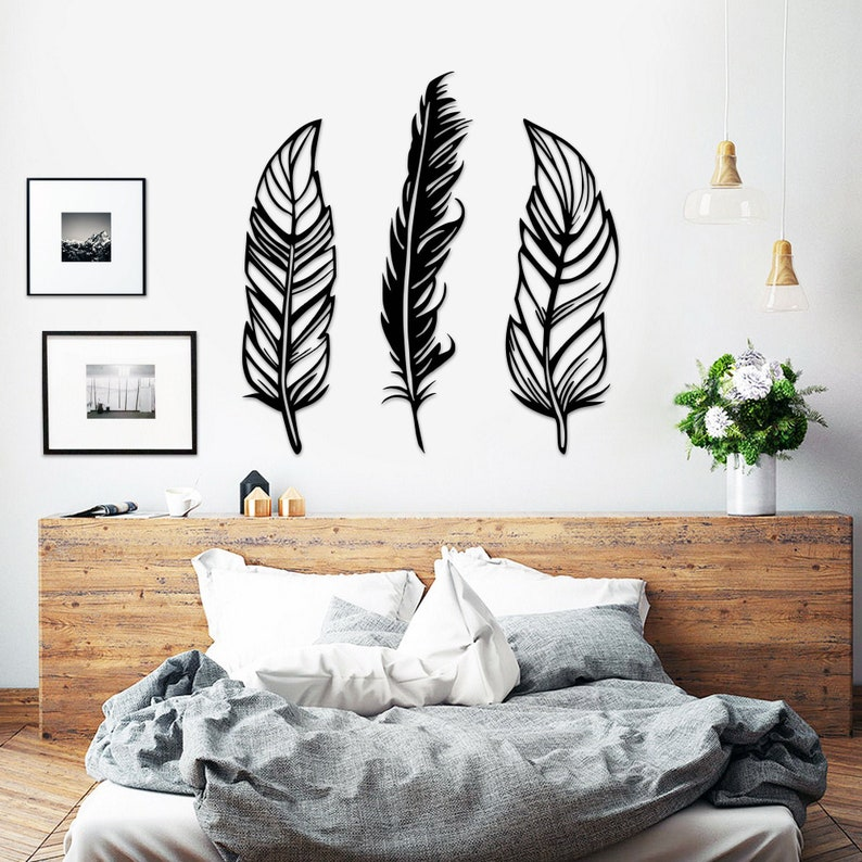 Feathers Metal Wall Art Set of 3 Feather Metal Wall Art Set image 0