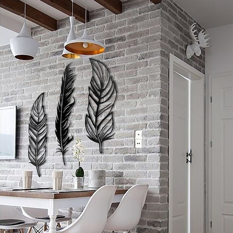 Feathers Metal Wall Art Set of 3 Feather Metal Wall Art Set image 2