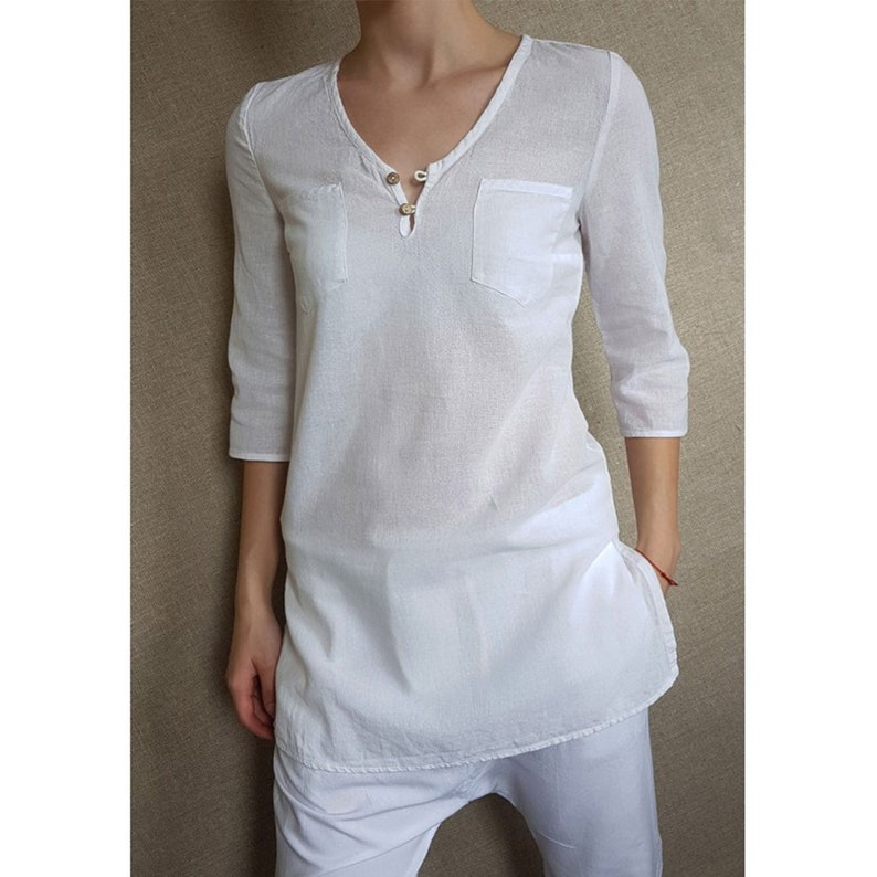 Woman/'s Tunic Linen Cotton Tunic Henley neck Tunic Tunic with Slits Comfortable fit Tunic 50 Linen 50 Cotton Spring Summer Tunic