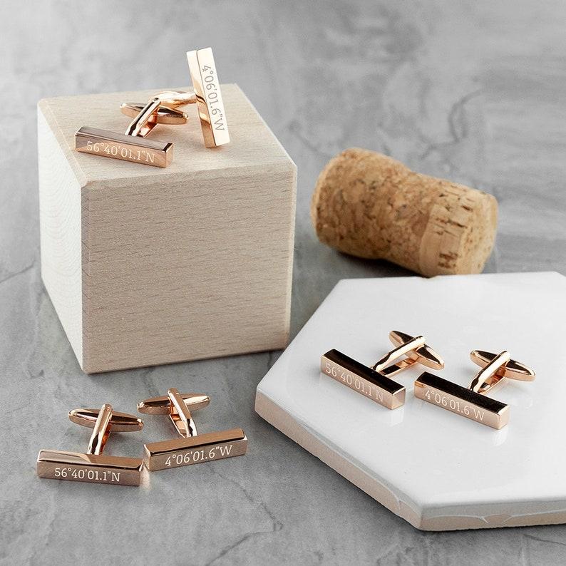 Personalised Engraved Metal Coordinates Bar Cufflinks Gifts Couple Wedding Anniversary Wedding Gift Favour Best Man Groom Groomsmen