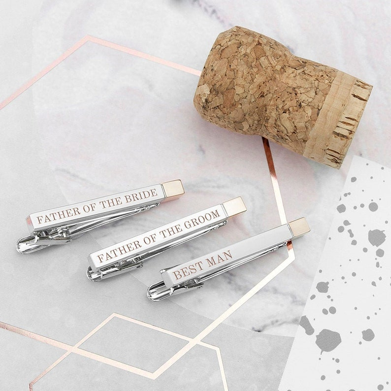Groomsmen Birthday Father Xmas Wedding Day Gift Bride Favours Usher Groom Best Man Personalised Engraved Two Tone Wedding Tie Clip