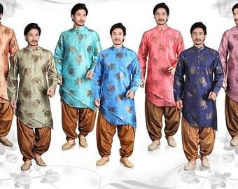 Men's Indian Traditional Silk Kurta Set (various sizes & colors)