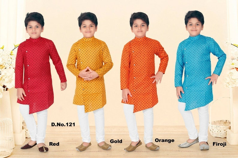 Indian Traditional Kurta Pajama Set for Boys (various sizes in 4 colors)
