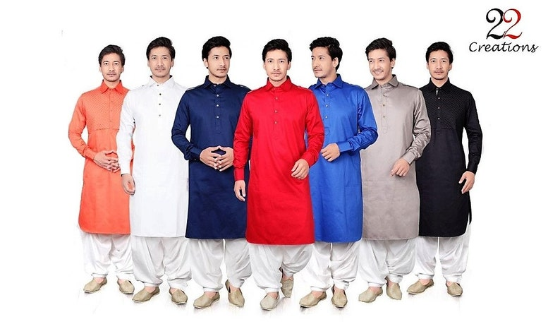 22 Creations Men's Indian Traditional Pathani Set in Cotton Satin (various sizes in 6 colors)