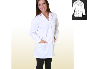 95c12dc1968 Women Lab coat Personalized White for Nurse Medical Doctors Medical  Students Pharmacists Lab Teacher 34 inches Long One line personlize Free