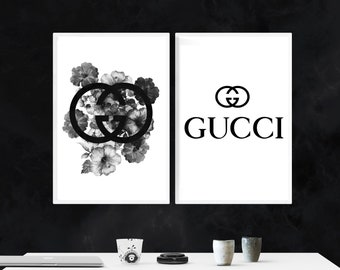 6013583c24 Set of 2 Prints, Fashion Print, Wall Print, Fashion Wall Decor, Poster,  Prints, inspired by Gucci Wall Art,, Black and White