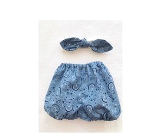 Bloomer baby / baby set / baby headband/ blue set