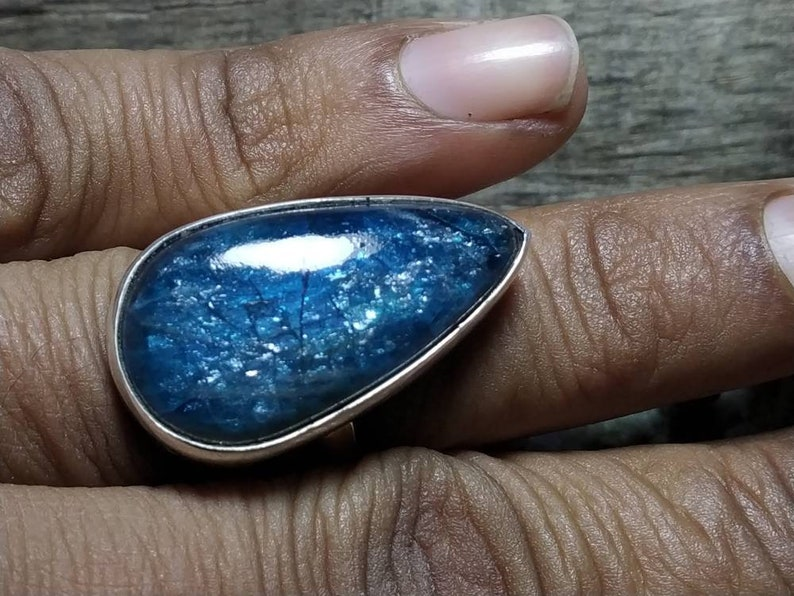 silver ring Sterling silver jewellery,natural stone Flashy Blue apatite ring