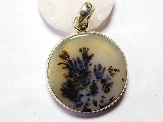 Sterling Silver /& Scenic Dendritic Agate Teardrop Pendant