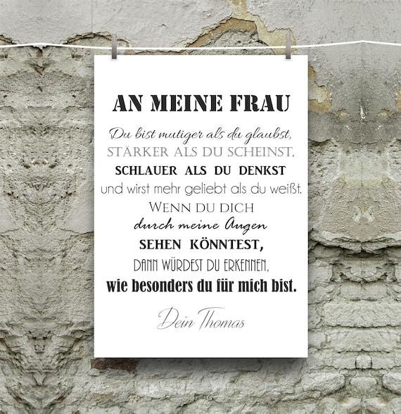Personalisiertes Wandbild An Meine Frau Geschenk Geburtstag Jahrestag Din A4 Wahlweise Mit Bilderrahmen