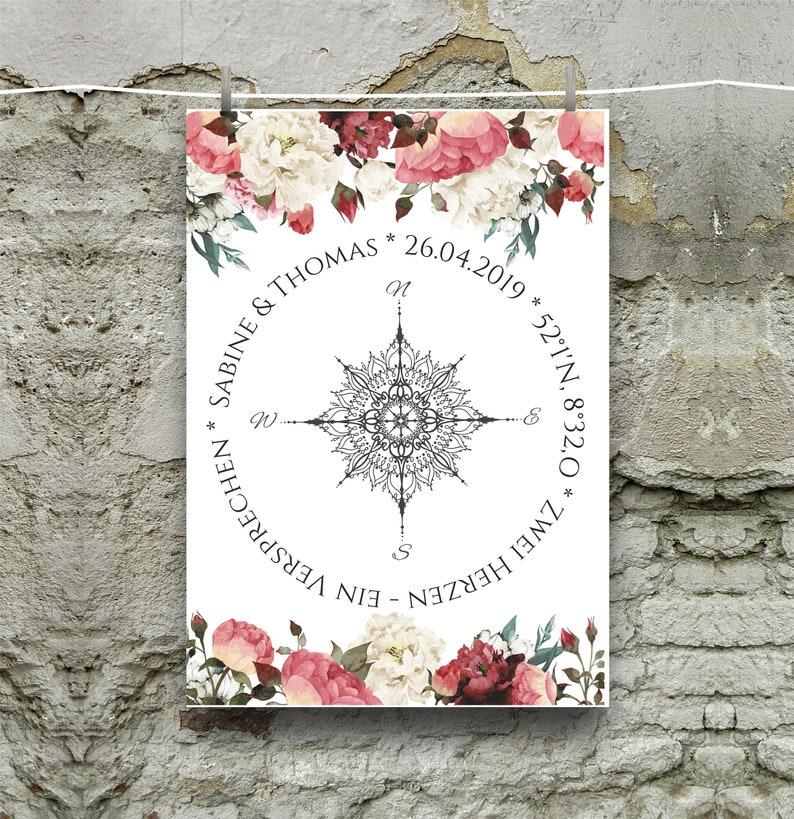 Personalisiertes Wandbild//Bild Hochzeit//Koordinaten//Geschenk Jahrestag//Geschenk Hochzeit//DIN A 4 ohne Bilderrahmen