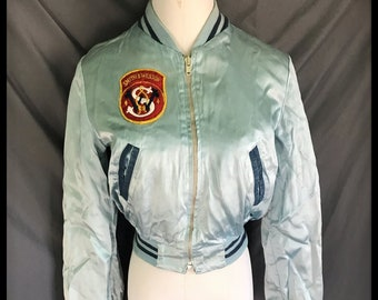 73bf0e6a2 VTG Smith & Wesson lt blue Satin Shooting Jacket~Baseball style Barely  worn~S