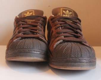 3b7d89691 Rare Adidas Brown Suede Shell Toe Trainers- Size 11UK