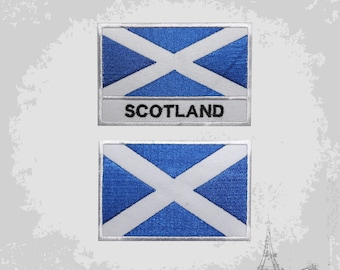 SCOTLAND FLAG embroidered iron-on PATCH SCOTTISH EMBLEM ST ANDREW CROSS SALTIRE