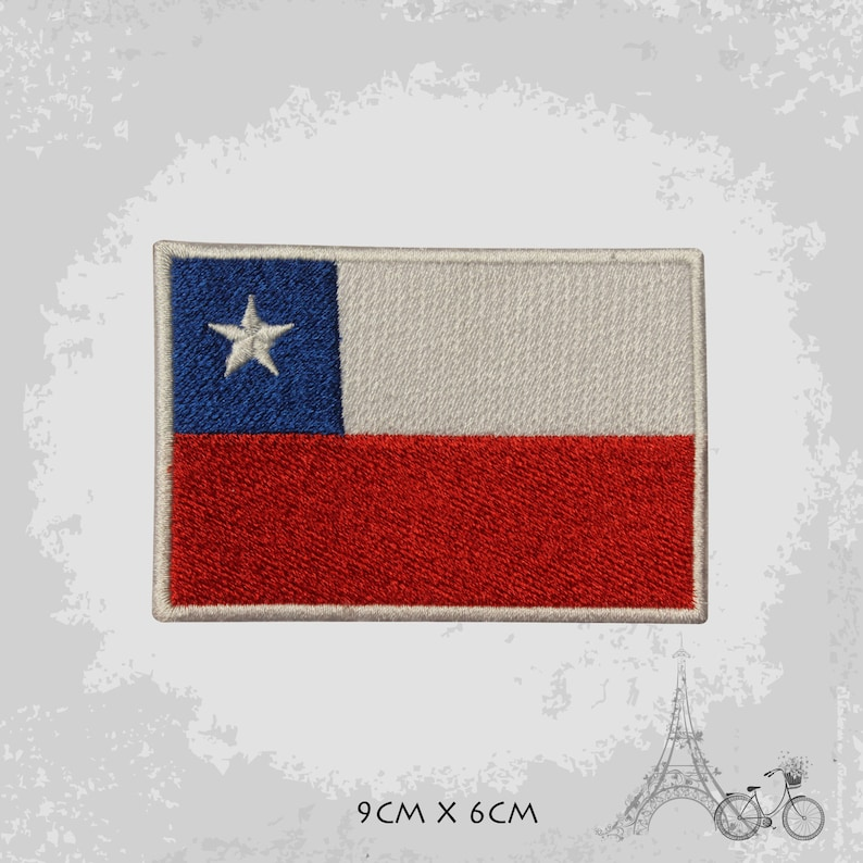 Chile National Flag Embroidered Iron On Patch Sew On Badge Applique Country National Flag