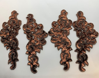 Set of 4 Brown/bronze Sequins Appliqué.  Two mirrored set.   Mirrored Dance Costumes  (AB-11)