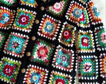 Dolce & Gabbana ,style square crochet cardigan, Patchwork Jacket, Afghan Coat, Crochet Cardigan Women.