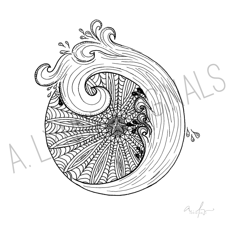 Mandala with Ocean Wave Line Drawing Art Print