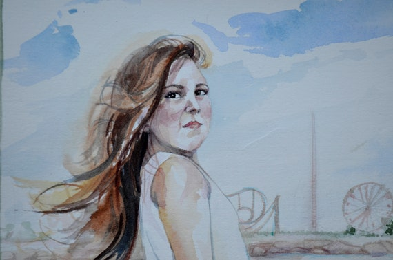 Custom watercolor portrait of one person from your own picture